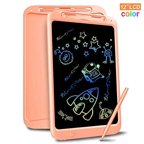 Richgv 12 Pulgadas Tableta de Escritura LCD,E-Writer Digital Pad con Telca de Bloqueo y Lineas Coloridas, Gráfica Dibujo Tablero, Memo Pad Electrónico para Niños y Adultos (12 Pulgadas, Rosa)