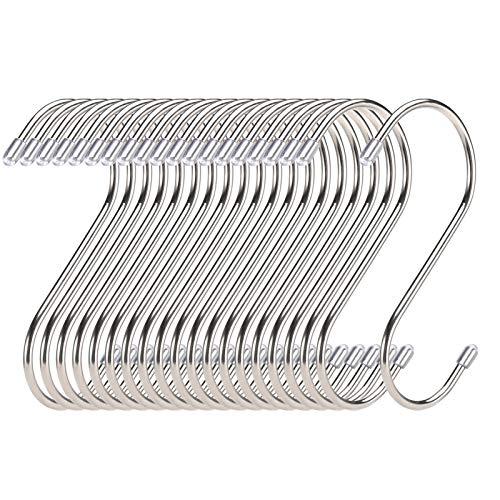 20 Pack S Haken Edelstahl - Belastbar bis 25kg - 11cm Groß - für hängende Töpfe und Pfannen, Pflanzen, Kaffeetassen, Kleidung, Handtücher in Küche, Schlafzimmer, Bad, Büro und Garten