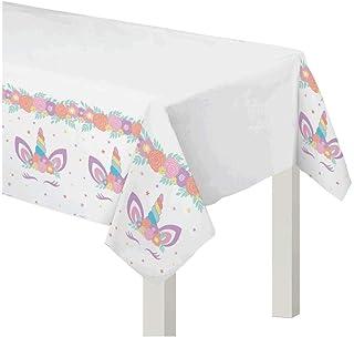 غطاء طاولة ورقية مستطيل الشكل يونيكورن- قطعة واحدة.