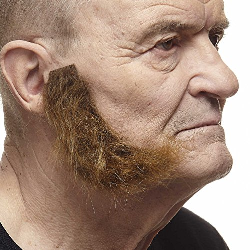 Mustaches Self Adhesive, Novelty, Realistic, L Shaped Fake Mutton Chops Sideburns, Brown Color