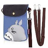 My Neighbor Totoro Sacs bandoulière toile petit mignon portefeuille cellulaire sac téléphone sac à main avec bandoulière porte-monnaie (B)