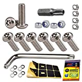 Aootf Stainless Steel License Plate Screws - Anti Theft License Plate Frame Bolts Tamper Resistant Fasteners | 1/4