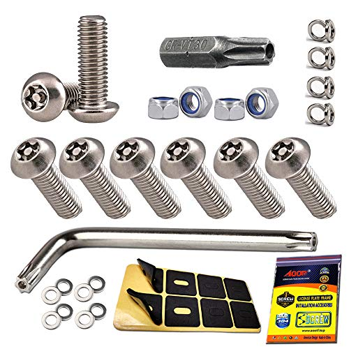 "Aootf Stainless Steel License Plate Screws - Anti Theft License Plate Frame Bolts Tamper Resistant Fasteners | 1/4""(M6) Security Machine Screws 