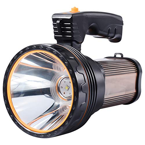 Eornmor Outdoor Handheld Portable Flashlight 6000 Lumens USB Rechargeable Super Bright LED spotlight Torch Searchlight Multi-function Long Shots Lamp, 9000ma 35W (Brown)