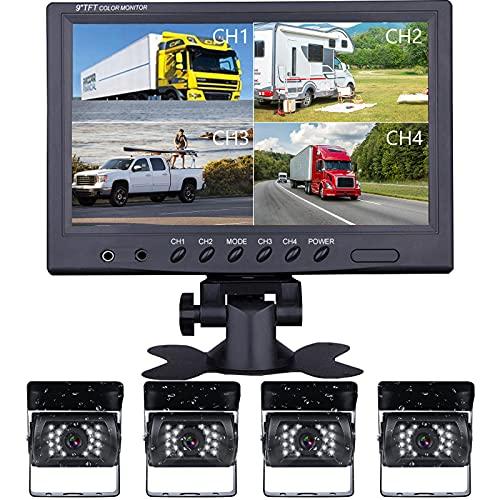 Podofo RüCkfahrkamera Funk 9 Zoll 4 Split Wasserdicht IP69 Nachtsicht mit Monitor RüCkfahrkamera Wohnmobil RüCkfahrkameras Wohnwagen Funk Kamera Set LKW