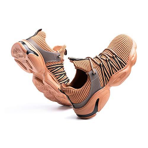 Sicherheitsschuhe Herren Arbeitsschuhe Damen Leicht Sneaker Sportlich Stahlkappe Schutz Stahlkappe Turnschuhe Wandern Stiefel Mesh D-Khaki EU43