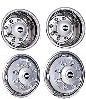 Pacific Dualies 37-1950 Polished 19.5 Inch 8 Lug Stainless Steel Wheel Simulator Kit for 2019 and Earlier International Truck