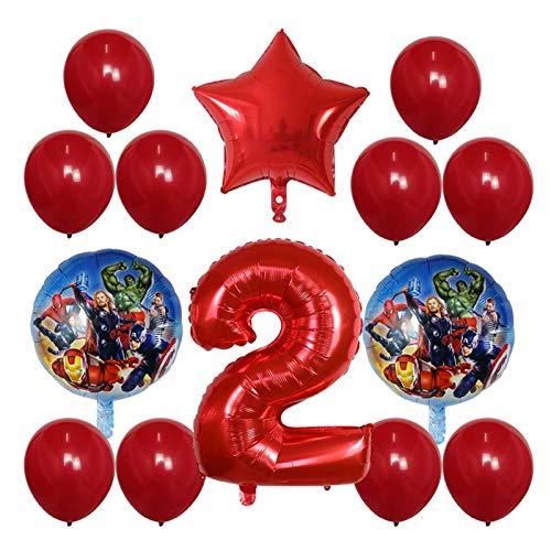 JSJJAER Globos de cumpleaños 14pcs Hoja hincha el Globo Número 30 Pulgadas Fiesta del Feliz cumpleaños Decoración superhéroe niños Globos de Aire Juguetes Incrementa la atmósfera (Color : 2)