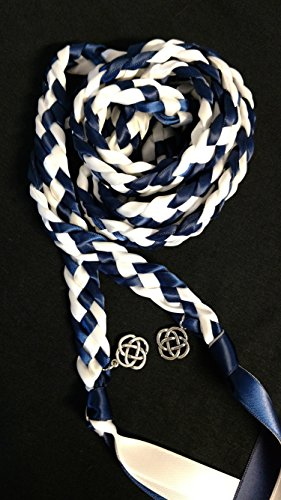 Navy and White Handfasting Cord Ceremony Braid- Celtic Knot- 6 ft -Wedding- Braided Together- Handfasting cord