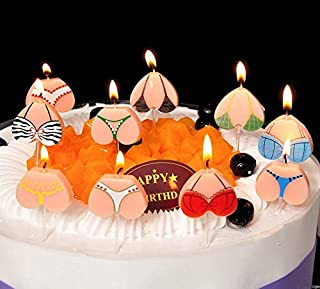 Astra Gourmet Funny Bikini Tops & Bottoms Adult Party Candles - Cute Novelty & Gag Birthday Cake Topper Decorations - 10PCS