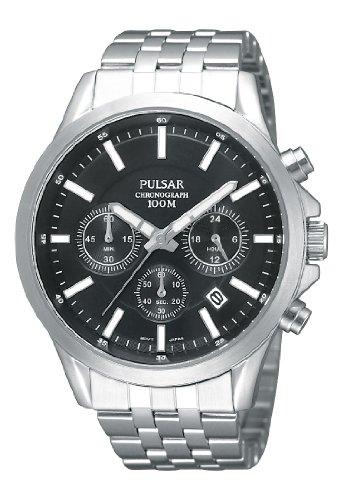 Pulsar Modern - Reloj analógico de caballero de cuarzo con correa de acero inoxidable plateada (cronómetro) - sumergible a 100 metros