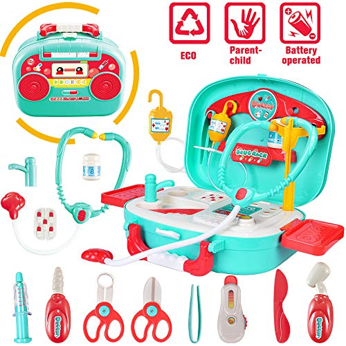 Image of INGQU Kids Doctor Kit Pretend Play Set with Working Platform Case, Durable 19 Pieces of Heartbeat, Injecting Dentist Doctor Set for Kids Girls Boys