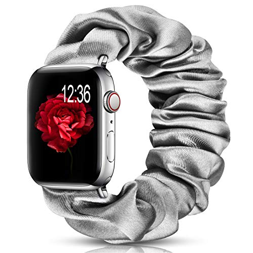 ShunDee Compatible with Apple Watch Band Scrunchie 38mm 40mm 42mm 44mm Printed Fabric Cloth Soft Pattern Wristband Bracelet Women Rose Gold IWatch Elastic Scrunchy Bands for iWatch Series 5/4/3/2/1