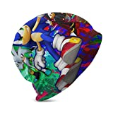 Toddler Baby Cuffed Knit Beanie Hat, Silver Shadow Sonic and Amy Rainbow Graffiti Fan Art Vintage Winter Thick Ski Baggy Hat for Office Tennis, Stretch Party Hat Gifts