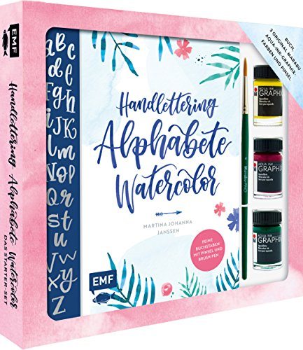 Handlettering Alphabete Watercolor - Das Starter-Set - Feine Buchstaben mit Pinsel und Brush Pen: Buch, 3 original Marabu Aqua-Ink-Graphix-Farben und Pinsel