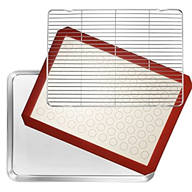Stainless Steel Baking Sheet Set of 3, Wildone Non-stick Cookie Sheet with Cooling Rack & Silicone Baking Mat, Size 16 x 12 x 1 inch, Oven Safe & Non Toxic, Perfect for Roasting, Cooking, Grilling
