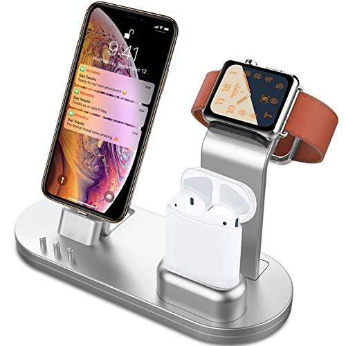 Image of the OLEBR 3 in 1 Charging Stand Compatible with iWatch Series 5/4/3/2/1, AirPods and iPhone 11/Xs/X Max/XR/X/8/8Plus/7/7 Plus /6S /6S Plus(Original Charger & Cables Required) Silver
