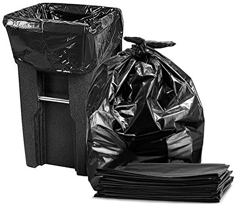"""65 Gallon Trash Bags for Toter, (w/Ties) Large Black Garbage Bags, 50""""W x 60""""H"""