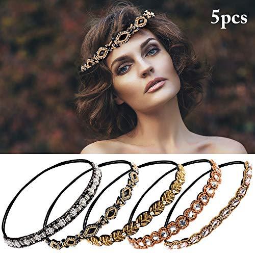 Haarschmuck,Zoylink 5 Stück Elastisches Haarband Haarreife Kristall Strass Kopfkette für Frauen Damen (mehrfarbig)
