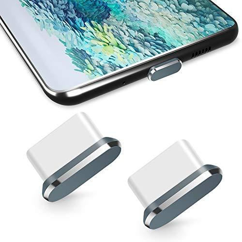 TITACUTE USB Typ C Staubschutz 2 Pack, USB C Staubschutzstöpsel Schutzkappe S20 Staubschutz mit Mini Tragetasche Typ C Staubstecker kompatibel mit Samsung S20 Plus OnePlus 8 7T Pro Xiaomi 9 Grau