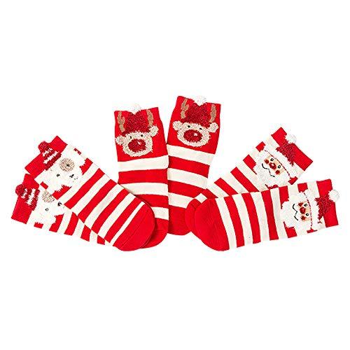 GZQ 3 Par Bebé Calcetines Algodón para Navidad, Calcetín de invierno,Medias Calientes, (M, Estilo A)