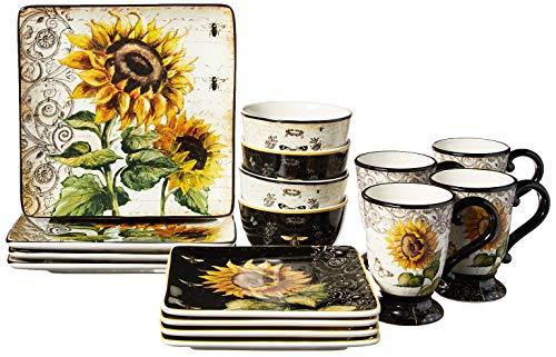 Certified International Sunset Sunflower 8.25 3-D Dessert Plate Multicolored Set of 4,One Size