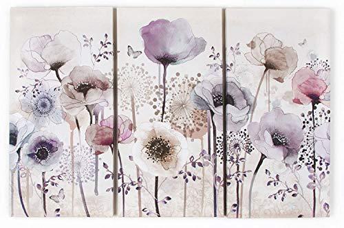 Refosian 41-544 Classic Poppy Floral Trio Bedruckte Leinwände, neutral, Höhe 60 cm x Breite: 30 cm