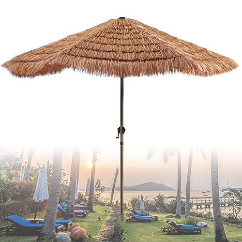 Sombrilla De Paja Hexagonal De 210 Cm (Color Natural) con Manivela Sombrilla De Playa Tropical Tiki Hut Hawaii, Uv50 +, Sombrilla De Jardín, Sombrilla De Patio