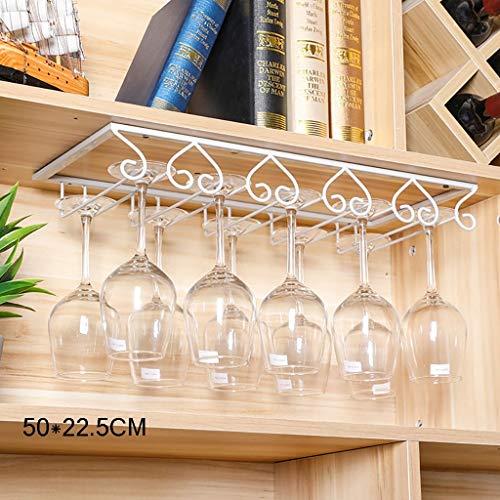 DGDG Ferro Bianco cremagliera Bicchiere di Vino Appeso Decorazioni Pratica mensola, Robusto for Le cucine Armadio (Size : 50 * 22.5CM)