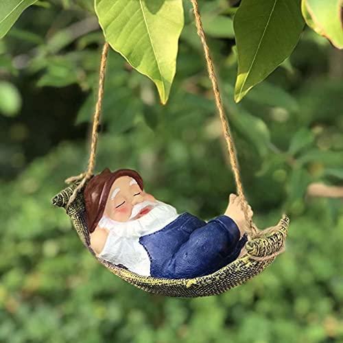 Hanging GNOME Garden Statue - Gartenzwerge wetterfest Garten GNOME Statue, GnomeBaum Fensterharz Garten Figuren, Baum Huggers Garden Decor Wunderliche Baum Skulptur Garten Dekoration (A)