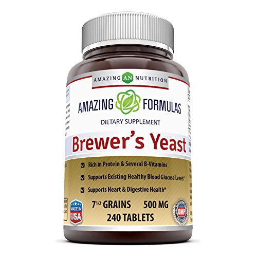 Amazing Nutrition Brewers Yeast Tablets, (Non-GMO,Gluten Free) For Healthy Digestion And Heart Health, 7.5 Grain Capsule 500mg 240 Tablets