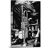 Trumpet Between Jazz Player's Legs Canvas Wall Art Print, Jazz Artwork