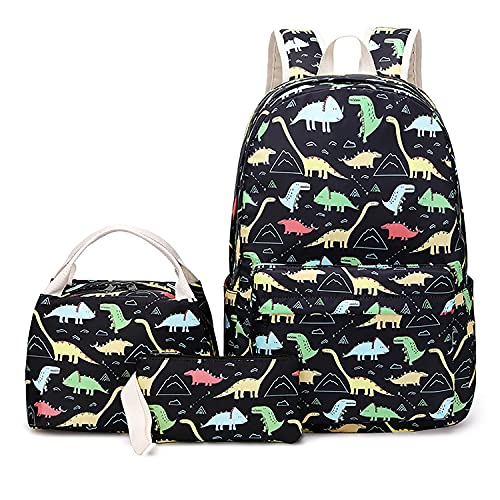 Suaver, zaino scolastico per ragazzi e ragazze, set con borsa per il pranzo e astucci, impermeabile, simpatica borsa per libri (nero)