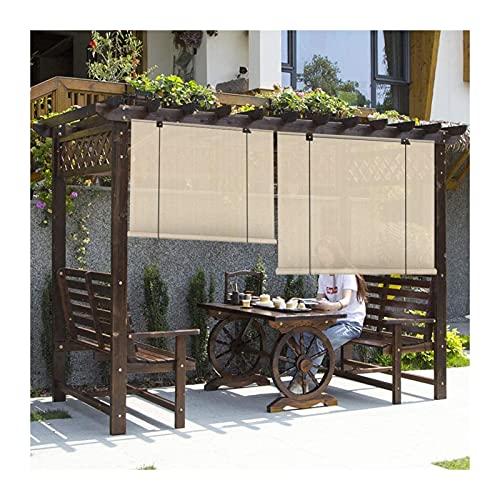 KKCF Yttre rullgardin, vattentät skugggardin insynsskydd, utomhus mörkläggningsgardiner rulle 85 % UV-motstånd för pergola trädgård terrass, 50 storlekar (färg: A, storlek: 75 x 225 cm)