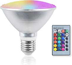 Bonlux PAR30 RGB LED Flood Lights Outdoor, 20W RGB+Warm White E26 Dimmable Color Changing LED Bulb with Remote Control, Wa...