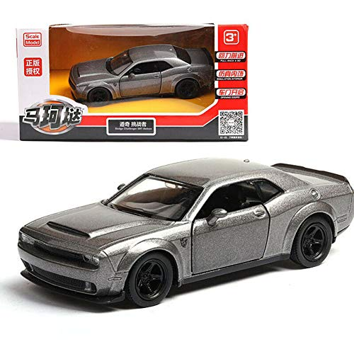 Model Car Sport Scale 1/36 Dodge Challenger SRT Demon Alloy Diecast Car Model No Sound Light Toy Grey