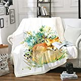 Manta de forro polar con diseño de zorro de dibujos animados para cama y sofá, decoración de hojas botánicas, manta de felpa cálida de la naturaleza, manta de doble 156 x 182 cm