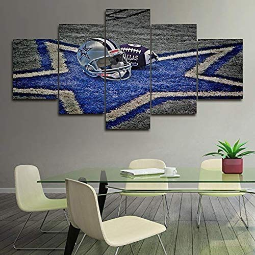 ANAQUT 5 Piece Canvas Wall Art NFL Sports Dallas Cowboys Paintings Home Decor NFL Prints on Canvas,5 Panel Modern Artwork Picture for Living Room (8x12 8x16 8x20inches,Unframed)