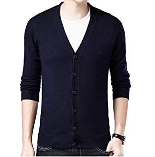 Men's V Neck Cardigan Sweater Solid Color Knit Long Sleeve Sweater Autumn Winter Soft Warm Comfortable Casual Fashion