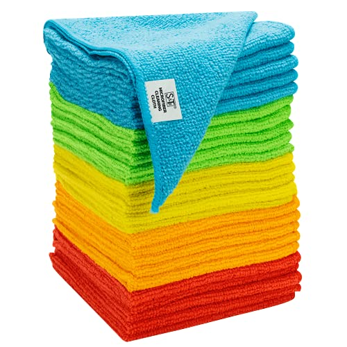 S&T INC. 594501 Microfiber Cleaning Cloths, Reusable and Lint-Free Towels for Home, Kitchen and Auto, 25 Pack, Assorted