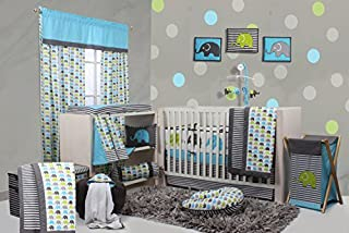 lime green and aqua crib bedding