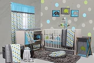 Bacati - Elephants Aqua/lime/grey 10 Pc Crib Set Including Bumper Pad