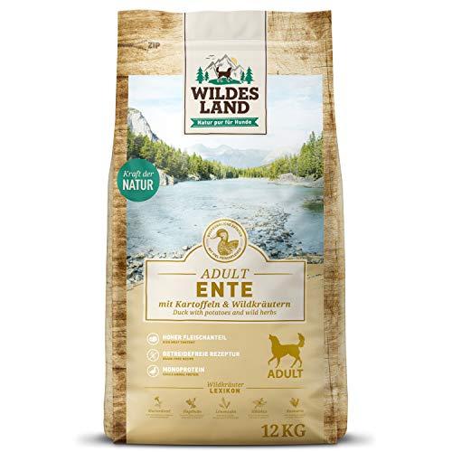 Wildes Land | Nr. 2 Ente | 12 kg | mit Kartoffeln und Wildkräutern | Glutenfrei & Hypoallergen | Trockenfutter für Hunde | Hundefutter mit hohem Fleischanteil Hohe Verträglichkeit
