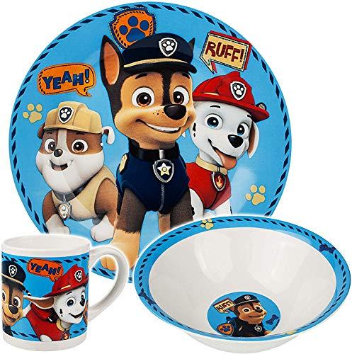 TrendyMaker Paw Patrol Porzellan Keramik Geschirrset, Tasse, Teller und Schale, Kinder Geschirr Set, Frühstücksset