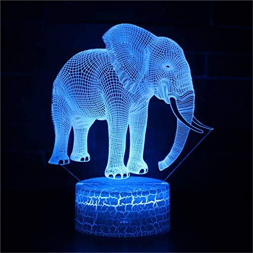 3D ilusión lámpara 3D noche luz elefante una ilusión 3D lámpara 16 colores cambiantes deporte ventilador decoración habitación niños idea