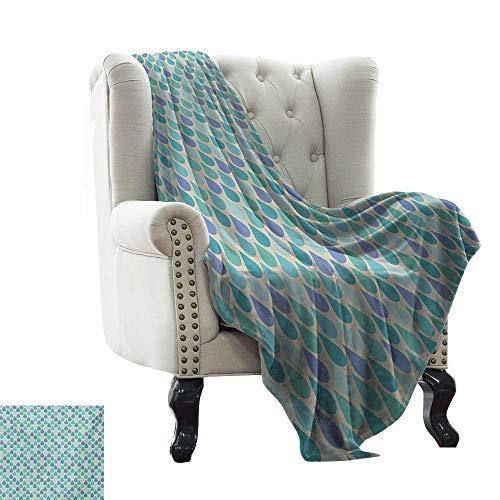 LsWOW Manta Gris Verde Azulado, patrón clásico de Encaje con Elementos Femeninos románticos inspirados en Ilustraciones, Tela Suave Reversible Verde Azulado Beige para sofá de fácil Cuidado