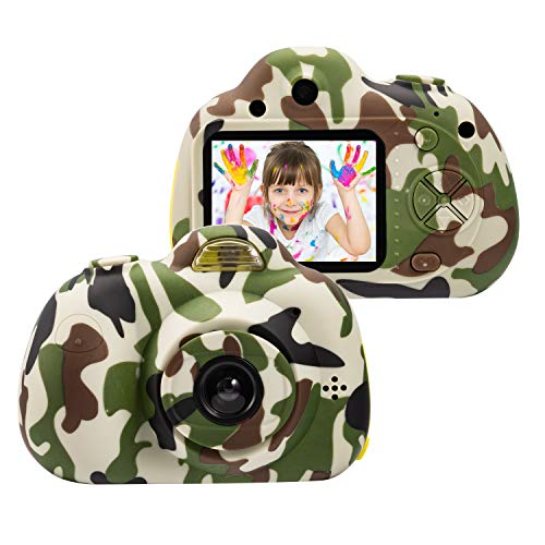 omzer Kids Digital Cameras for 4-9 Year Old Boys,2 Inch LCD Screen Toy Video Camera Birthday for Teen boy, Festival Present for 5-7 Years Old Boy,Camo(16GB Memory Card Included)