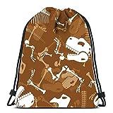 Kkyoxdiy Drawstring Backpack Bags Skeleton Dinosaur Dino Bones Ornament Tyrannosaurus Skull Prehistoric Repti Sports Gym Bag