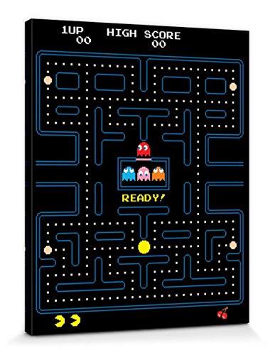 1art1 Gaming - Pac-Man Maze Cuadro, Lienzo Montado sobre Bastidor (50 x 40cm)