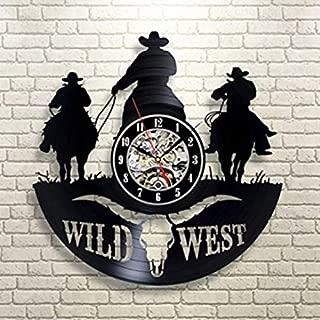 Avión Night Light Wild West Creative Vinyl CD Record Reloj de pared Texas Cowboy Hollow Estilo antiguo LED Reloj de pared Arte personalizado Reloj de pared Soporte de lámpara de escritorio